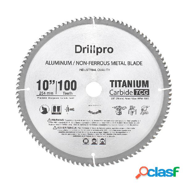 Drillpro 10 Inch Hoja de sierra de 100 dientes TCT Aluminio