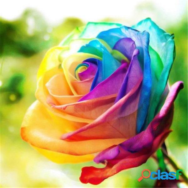 Egrow 200Pcs Rainbow Rosa Semillas Raro Colorido Flor Planta