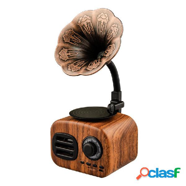 FT-BT05 Mini Altavoz portátil de madera con bluetooth retro