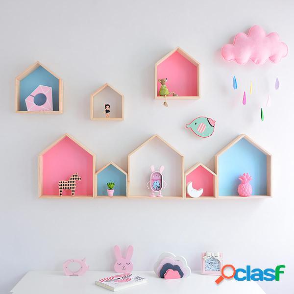 Forma de casa de madera Estante para colgar en la pared