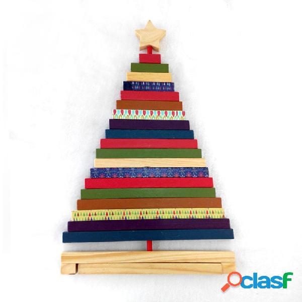 Girar adornos de madera de árbol de Navidad a rayas Regalos