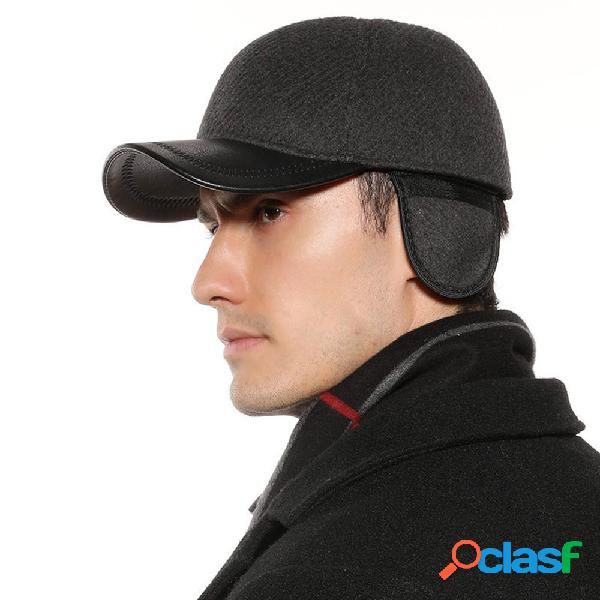 Gorra de béisbol de sarga negra y gris de lana Orejeras de