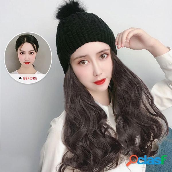 Gorra para mujer Peluca Sombrero Rizado claro Sintético