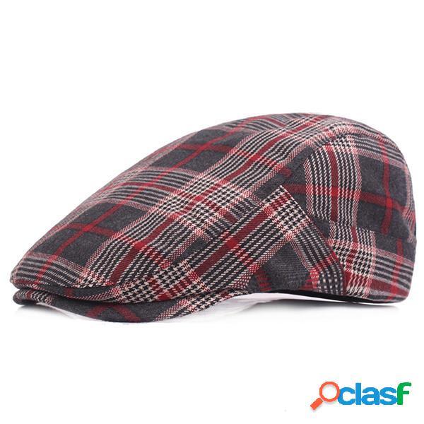 Gorras de algodón de la tela escocesa de los hombres Gorra