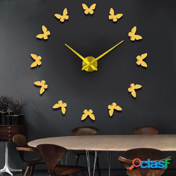 Gran 3D DIY Wall Reloj Home Decor Mirror Sticker Art Reloj