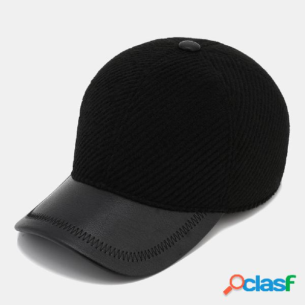 Hombre cálido al aire libre orejeras cuero Sombrero gorra