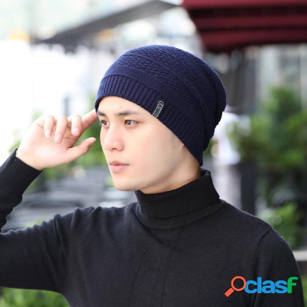 Hombres Invierno Cálido al aire libre Knit Sombrero Plus