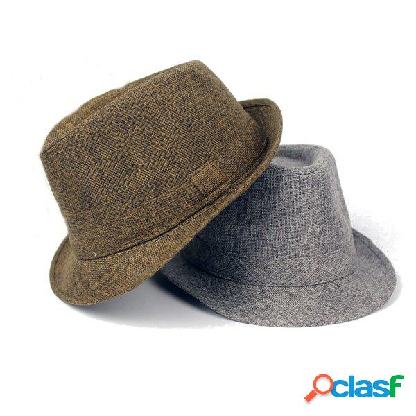 Hombres Mujer Algodón de ala ancha Panama Fedora Sombreros