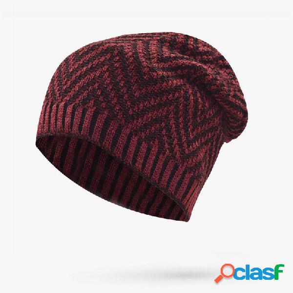 Hombres Mujer Invierno Windrproof felpa Knit Beanie Sombrero