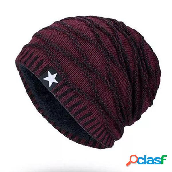 Hombres Mujer Stripe Knitted Warm Beanie Cap Forro de