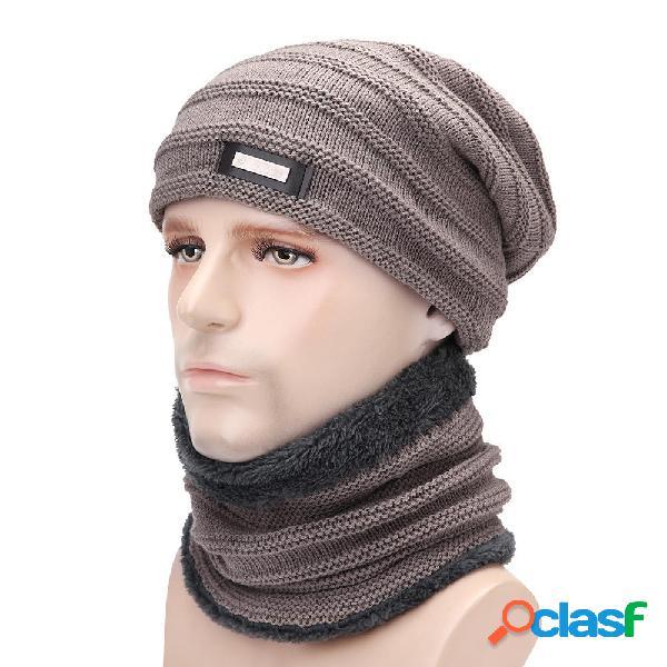 Hombres Plus Velvet Knit Sombrero bufanda conjunto vendimia