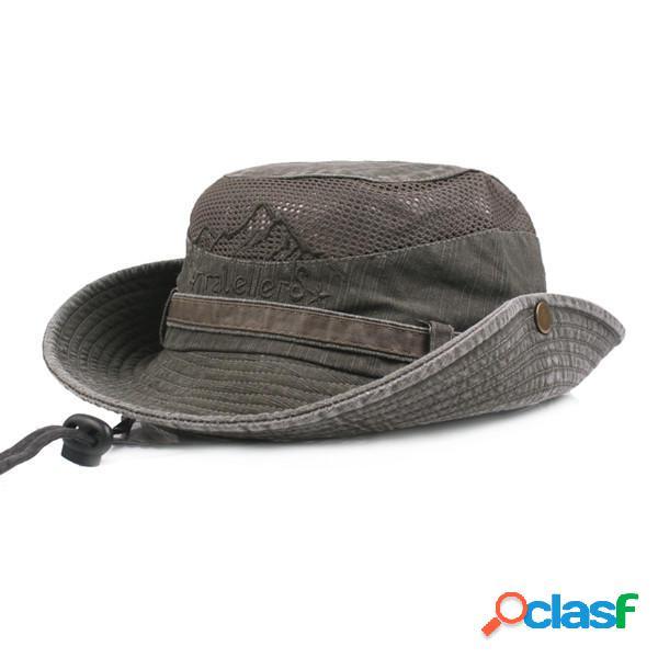 Hombres Sombreros de Algodón Bordados Sombrero del Pescador