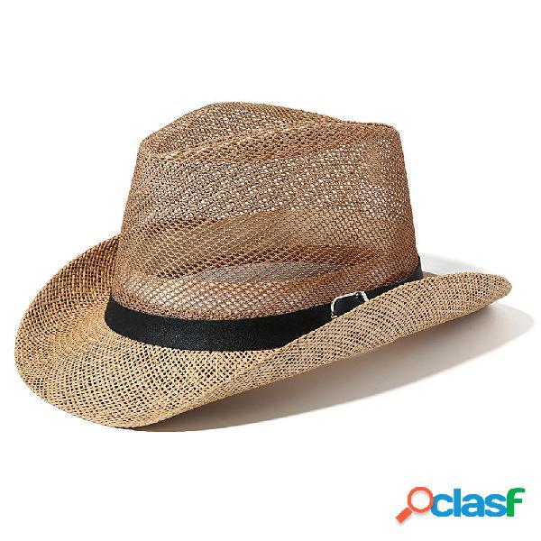 Hombres al aire libre Respirable Malla Bowler Jazz Sombrero
