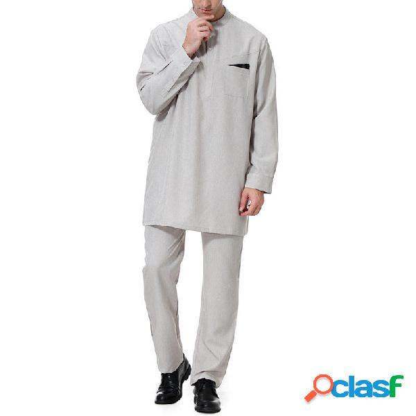 INCERUN Conjunto de camisas de manga larga con costura