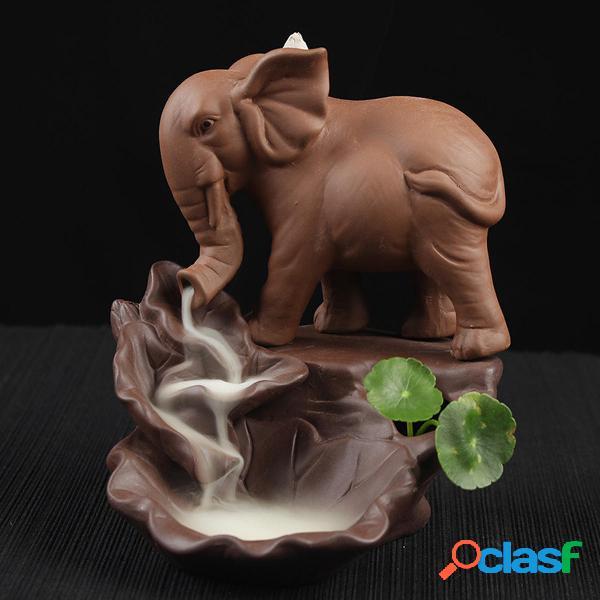 Incensario para quemador de incienso con reflujo de elefante