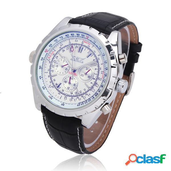 JARAGAR Automático Mecánico PU Banda Gran Dial reloj de