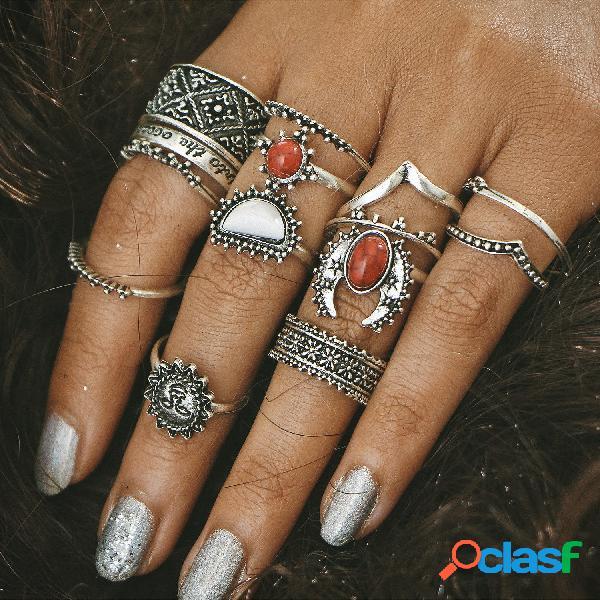 Juego de anillos con forma de bohemia de 14 piezas Turquesa