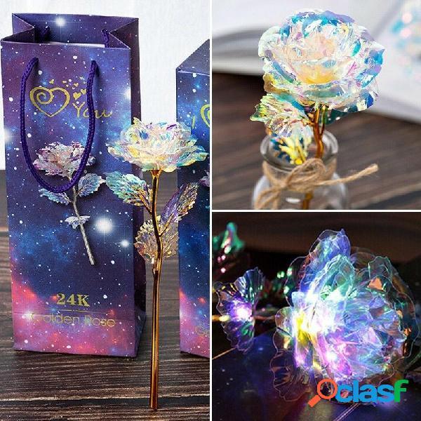LED Galaxy Foil Rose Flower Regalo de San Valentín