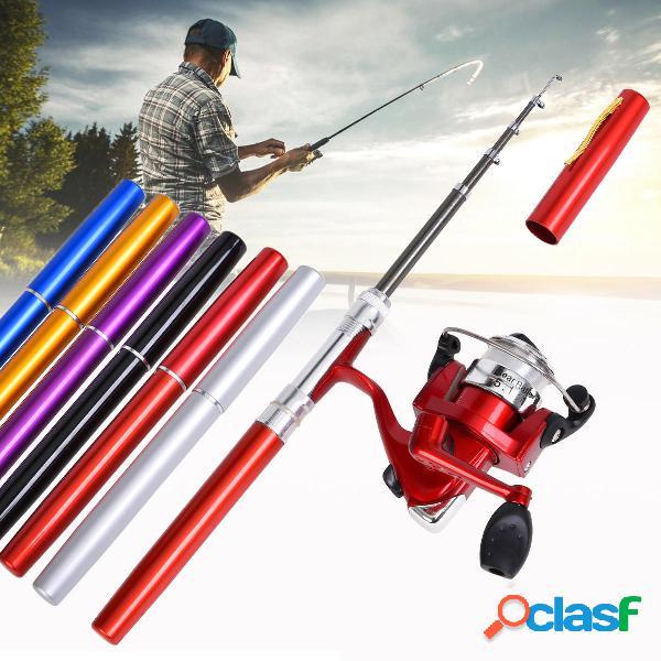 LEO Mini pesca Rodillo de carrete Combo Fibra de vidrio