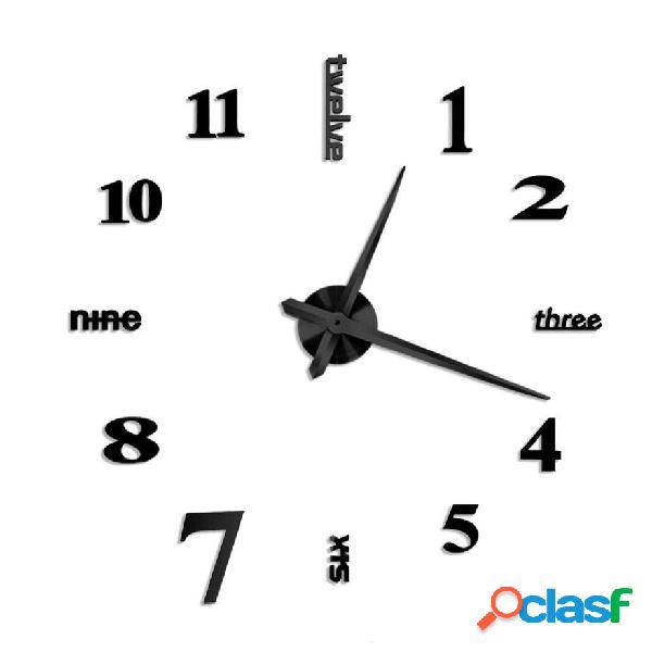 Large Mirror Wall Reloj 3D Hanging Reloj Soporte Reloj Black