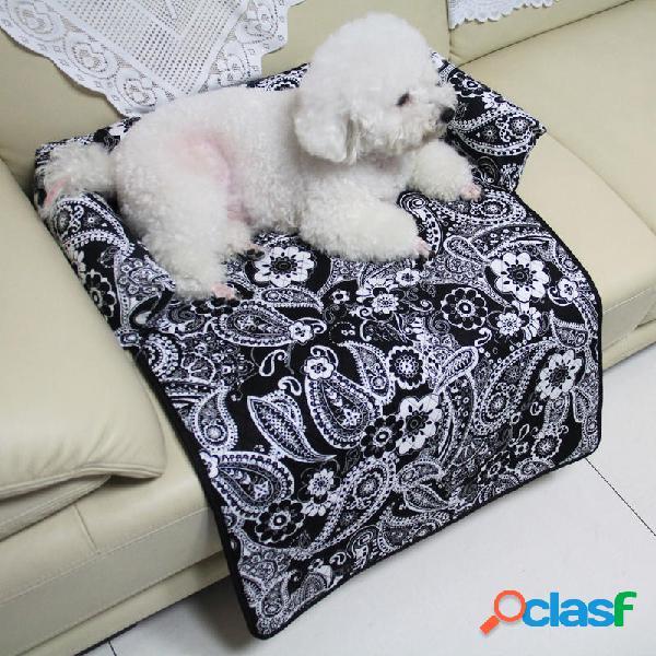 Lavable Estampado Pet Perro Gato Cama Sofá Silla Mat Kennel