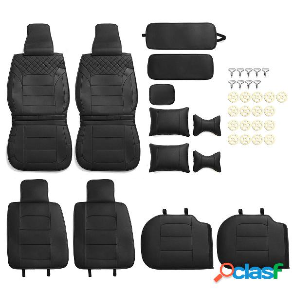 Lujo Universal Negro Coche Cojín de asiento de cuero de PU