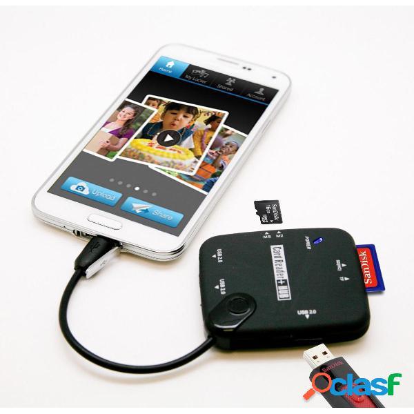 Micro USB para SD TF M2 MS Card Reader OTG Hub para