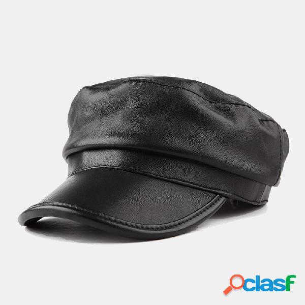 Mujer Cuero Sombrero Casual Oveja Octagonal Sombrero Boina
