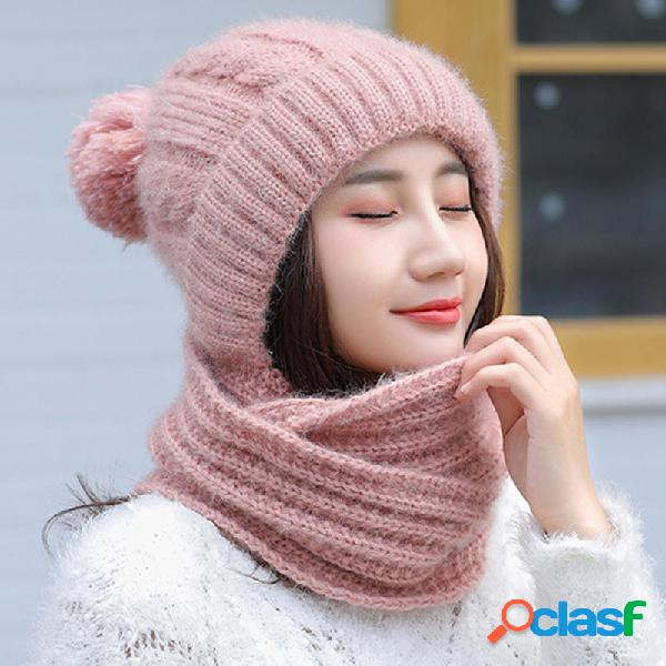 Mujer Espesar Siamese Knit Beanie Sombrero Bufanda de
