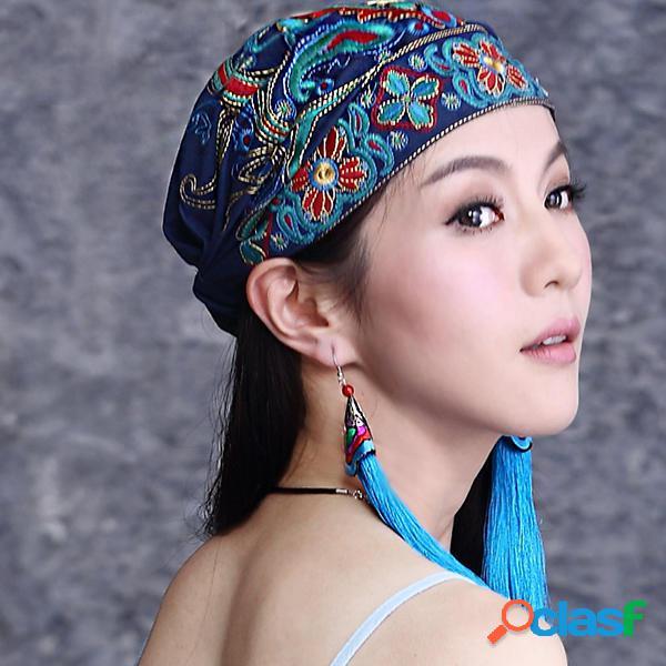 Mujer Gorro bordado de flores étnicas Sombrero vendimia