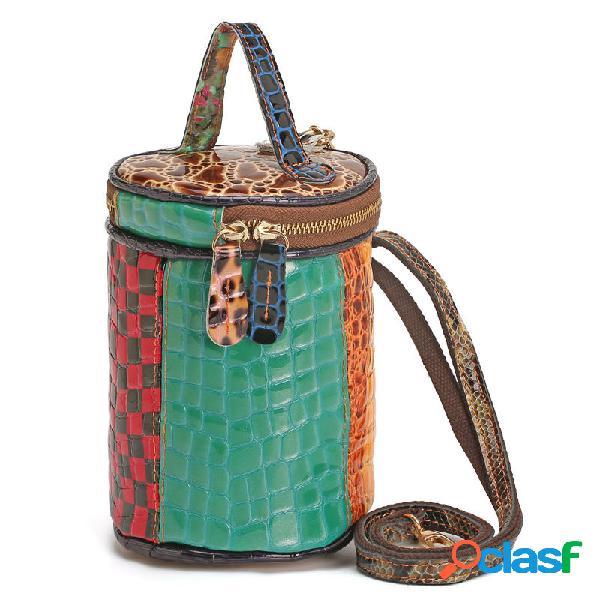 Mujer Piel Genuina cubo de mosaico Bolsa Crossbody Bolsa