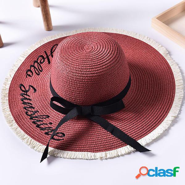 Mujer Summer Wide Brim Playa Straw Sombrero al aire libre