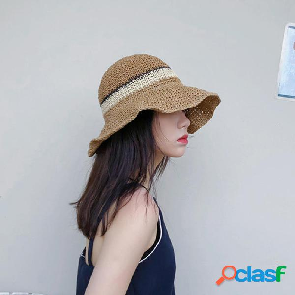 Mujer Summer al aire libre Wide Brim Straw Sombrero