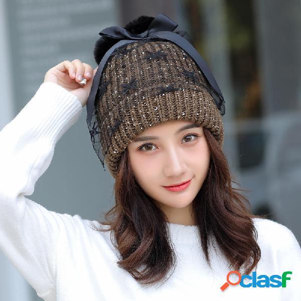 Mujer Winter Warm Knitted Sombrero Gorro de malla de punto
