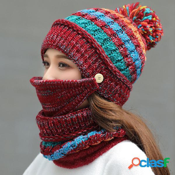 Mujer Winter Warm Thicken Plus Velvet Tejer Sombrero