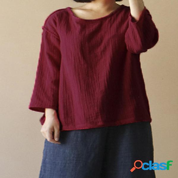 Mujer vendimia blusa suelta casual de lino de algodón de