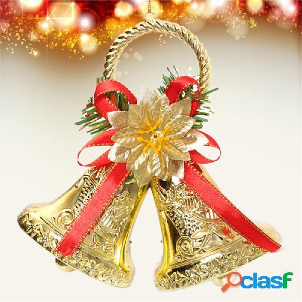 Navidad Bowknot doble campana árbol de Navidad adorno