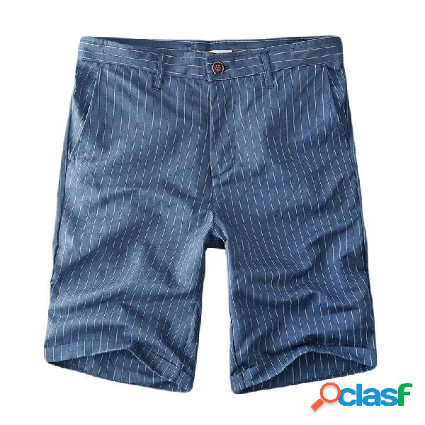 Pantalones cortos de algodón de lino a rayas casual para