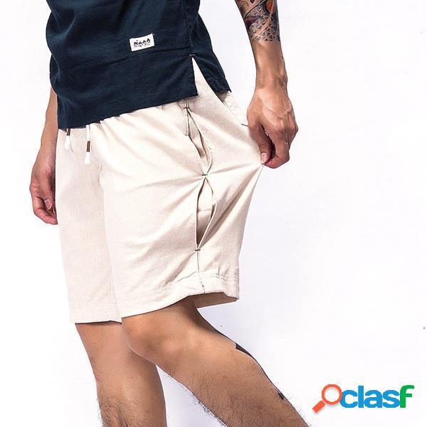 Pantalones cortos de algodón de lino transpirable para