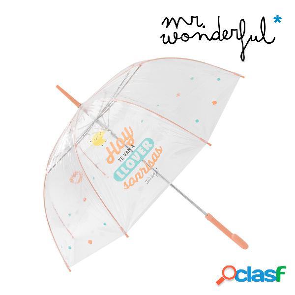"""Paraguas grande transparente """"Hoy te van a llover sonrisas"""""""