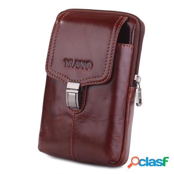 Piel Genuina Hip Cinturón Clip teléfono bolsa cintura