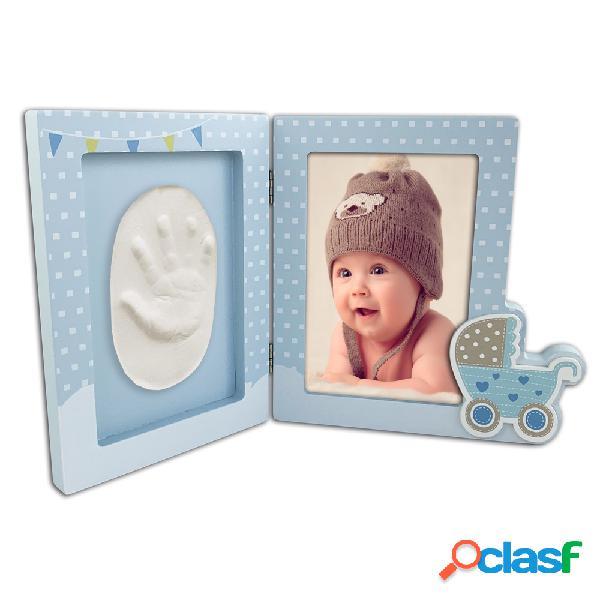 Portafotos personalizado para bebé con huella en arcilla