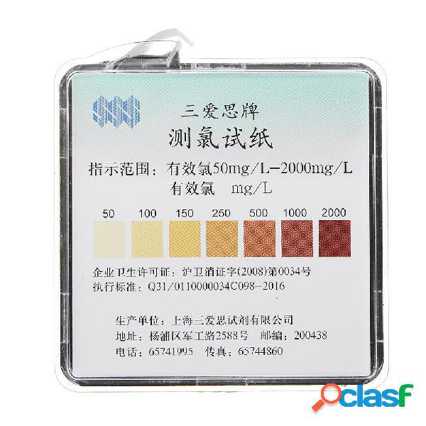 Rango de rollo de papel de prueba de cloro 50-2000 ppm con