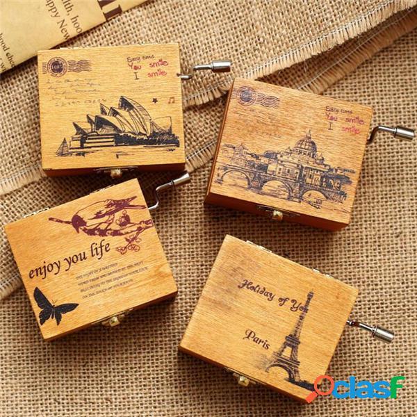 Retro wind-up caja de música de madera del castillo en el