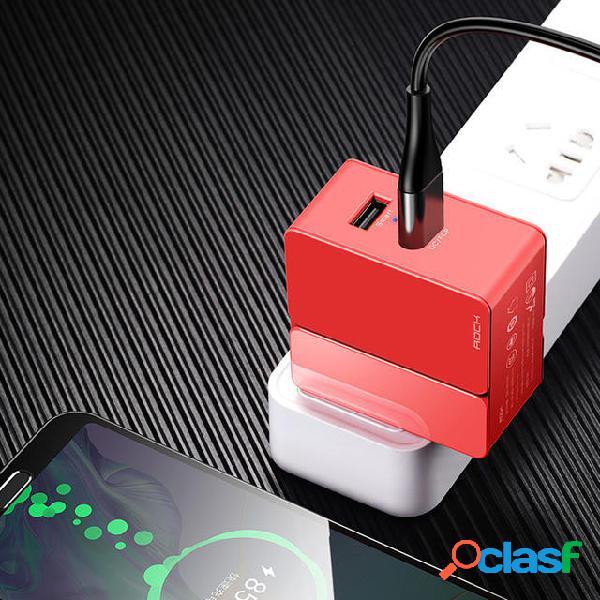 Rock 30W Micro USB Type C U + C Cargador USB de carga