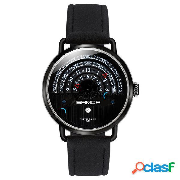 SANDA P1030 Fecha de la moda Pantalla Reloj creativo de