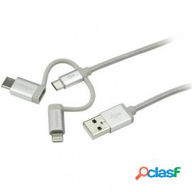 StarTech Cable Trenzado de 1m USB a Lightning USB-C y Micro