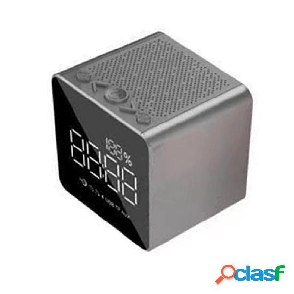 T03 Alarma Reloj Inalámbrico Bluetooth Altavoz Bass Mirror