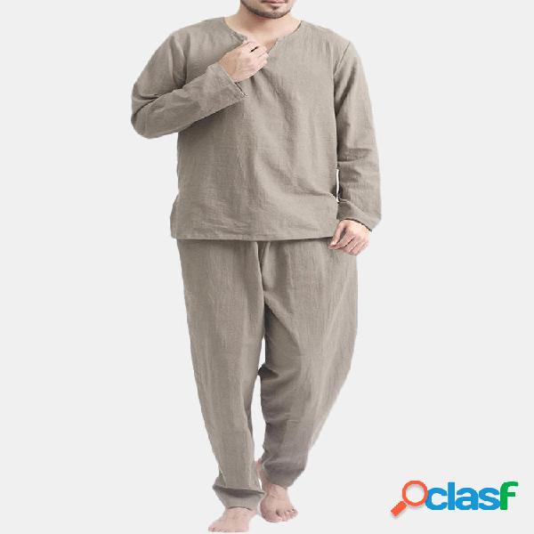 TWO-SIDED Conjunto de ropa de dormir de manga larga de color