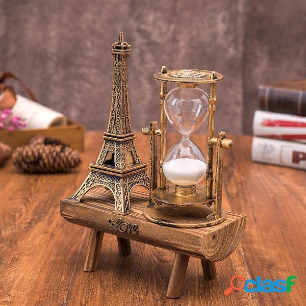 Torre creativa retro Reloj de arena de madera Decoraciones